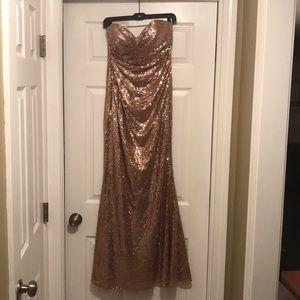 Christina Wu - Rose gold sequin, sweetheart cut